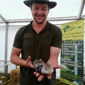 """Barney"" the Blue Tongue Skink and I at the Totnes Show."