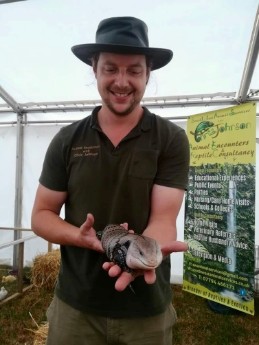 """""""Barney"""" the Blue Tongue Skink and I at the Totnes Show."""